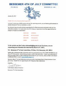 Bessemer 4th of July Sponsor Letter